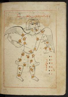 ʿAbd-ar-Raḥmān aṣ-Ṣūfī, Ibn-ʿUmar: Kitāb ṣuwar al-kawākib , 1233. Date: Dhū 'l-Qa'da 630 H  [August/September 1233] Mosul. Nearly complete [first page missing]; copied from a manuscript dated 404 H [1013/14]. Berlin, Staatsbibliothek  Ms. Landberg 71 [= Ahlwardt 5658]