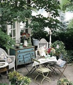 enchanting I want this for my garden cottage / shed beautiful English garden Cottage garden Outdoor Rooms, Outdoor Gardens, Outdoor Living, Small Gardens, Outdoor Bedroom, Outdoor Patios, Outdoor Kitchens, Small Courtyard Gardens, Outdoor Fountains