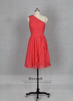 Coral Bridesmaid Dress, One Shoulder Short Coral Chiffon Bridesmaid Dress