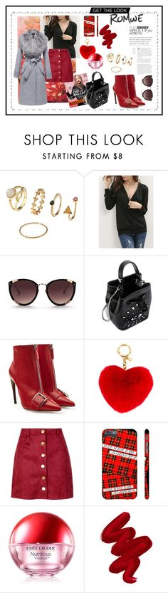 """Concours: ""Romwe sweatshirt"" _ chic in Red and Grey"" by sha-shu on Polyvore featuring mode, Rebecca Taylor, Kenzo, Alexander McQueen, MICHAEL Michael Kors, Boohoo, Estée Lauder, Obsessive Compulsive Cosmetics et Sentaler"