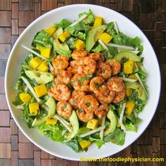 tropical shrimp salad with avocado