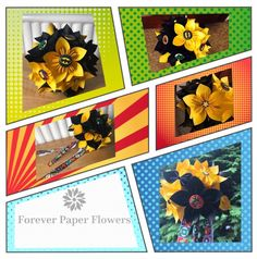 Comic book bouquet. DC and Marvel themed paper flower bouquet, made individually so they're unique to you. For weddings, birthdays, paper anniversary, for your kid's bedroom or nursery! The ideas and applications are endless! Just visit Foreverpaper flowers on Pinterest, Instagram, Facebook or our website.