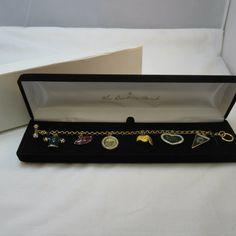 Danbury Mint Gold Tone Green Bay Packers Brett Favre Themed Charm Link Toggle Bracelet Retired Hard to Get