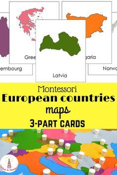 All European countries maps Montessori 3-part cards Printables