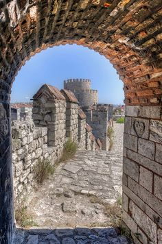 The City Walls of Constantinople. View of part of the Theodosian Walls, built by the Emperor Theodosius II approx 413AD to protect the city of Constantinople, now Istanbul.