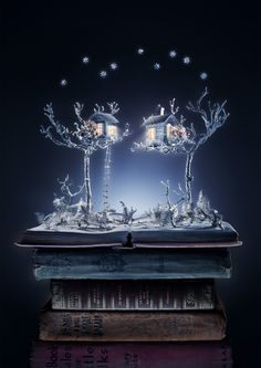 Treehouses: Book sculptures, created by artist Sue Blackwell, photographed by Johanna Parkin. Retouching studio Mustardpost