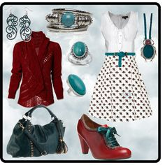 Red and Turquoise Outfit