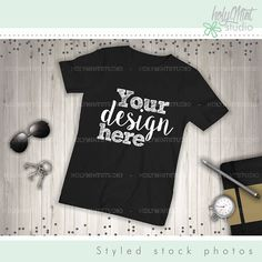 T Shirt Mockup Shirt Template Wood Background Mockup Digital