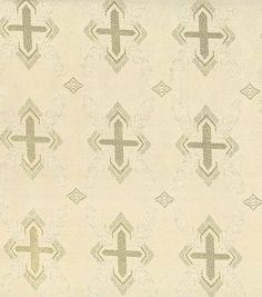 Brocade Fabric-Cross Shield Brocade Cream Gold