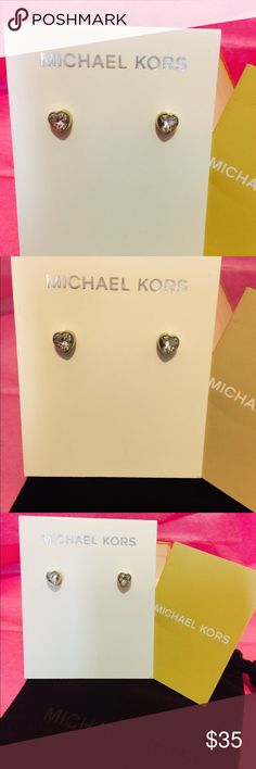MICHAEL KORS GOLD HEART EARRING MK GOLD POST EARRINGS WITH CRYSTALS AUTHENTIC AND BEAUTIFUL COMES WITH ORIGINAL MK DUST BAGS AND BOX Michael Kors Jewelry Earrings