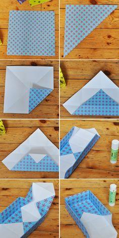 how to fold a small paper box  http://lilla-a-design.blogspot.co.il/2012/01/hur-man-viker-en-ask.html