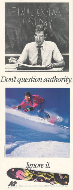 Old school snowboard ad