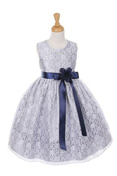 Girls Dress Style 1132- SILVER Taffeta and Lace CREATE YOUR OWN DRESS  The perfect dress for her special day, this dress is so stylish. The dress is made in beautiful floral lace and the waist line is accented with an adorable bow. The skirt on this dress has the perfect amount of fullness. Comes in endless removable satin sash and pin on flower color options.  http://www.flowergirldressforless.com/mm5/merchant.mvc?Screen=PROD&Product_Code=CC_1132SVNV&Store_Code=Flower-Girl&Categor..