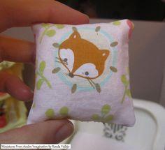 1:6th Scale Miniature Kawaii cute Fox pillow #5 in pink for Barbie, Blythe, Silkstone, Momoko