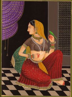 ragamala painting   Ragini Ragamala Handmade Painting Rajasthani India Ethnic Folk Paper ...
