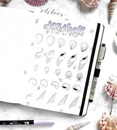 TUTORIAL✨ Here it iss!☺ A new step by step tutorial for those who are interested in how I draw sea shells.🐚 Helpful or nah? Doodle Art For Beginners, Easy Doodle Art, Doodle Pages, Bullet Journal Page, Bullet Journal Inspo, Banner Doodle, Shell Drawing, Drawing Journal, Journal Art