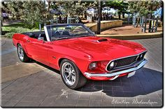 1969 Cherry Red Ford Mustang Convertible