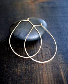 Teardrop Hoop Earrings - Silver and Gold