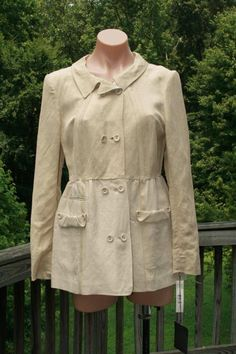 NWT Donna Karan Collection Black Label Khaki Gold Linen Hemp Jacket Coat size 10 #DonnaKaran #BasicJacket