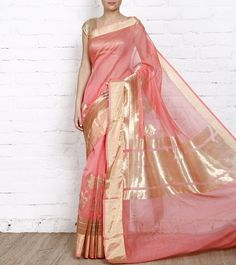 Gorgeous Cotton Chanderi #Saree in peachy pink and gold