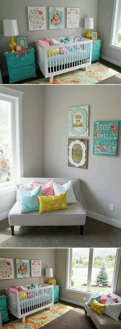 What a beautiful place for a baby to call home.  #teal #nursery #decor #inspiration #ideas #blue #orange #yellow