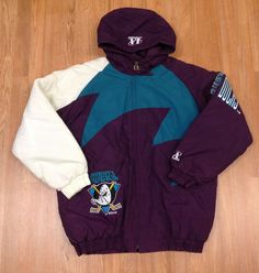 Vintage Anaheim Mighty Ducks Sharktooth Logo Athletic Parka Coat Jacket Snapback