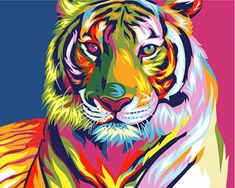 Adult Paint by Numbers Framed, Komking DIY Paint by Number Kits for Kids Beginner on Canvas Painting, Colorful Tiger Pet Tiger, Tiger Art, Tiger Head, Simple Oil Painting, Diy Painting, Tableau Pop Art, Tiger Painting, Colorful Animals, Colorful Animal Paintings
