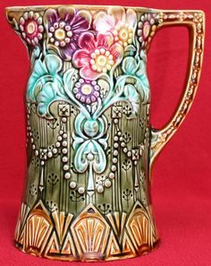 RARE AUTHENTIC ANTIQUE FRENCH ONNAING MAJOLICA FLOWERY PITCHER C1880 in Pottery & Glass, Pottery & China, Art Pottery | eBay