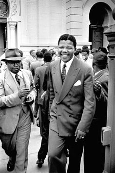 Nelson Mandela after having the South African states case against him dismissed in his supposed treason trial, 1956.