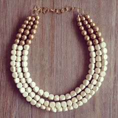 White and Gold Statement Necklace by icravejewels on Etsy
