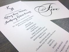 Custom wedding program and table numbers with script initial monogram by Paperwhites (paperwhites-invitations.com) #black #silver