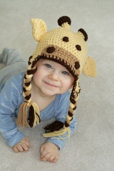 Crochet Giraffe Hat Photo Photography Prop Newborn Toddler Kid. $26.00, via Etsy.