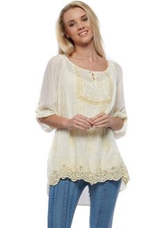 Monton Lemon Silk Blouse Top With Sequinned Panel & Lace Hem