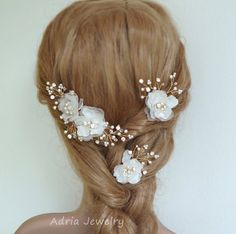Silk Flower Wedding Headpieces Gold Bridal Hair Pieces  baby's breath Off White and Ivory Hair Flowers Flower Wedding Hair Combs Hair pins