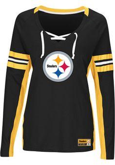 Majestic Women's Pittsburgh Steelers Winning Style Long Sleeve T-Shirt - Black/Gold XXL Steelers Merchandise, Steelers Gear, Pittsburgh Steelers Jerseys, Steelers Stuff, Dallas Cowboys, Steelers Football, Steelers Rings, Football Stuff, Steeler Nation