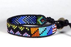 Bead Loom Bracelet Leather Wrap Bracelet Americana Heart of