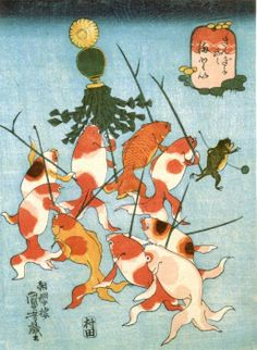 Kingyo-zukushi is one of the gi-ga(戯画) that the theme is funny picuture. Kuniyoshi personified goldfishes in the 9 ukiyo-e prints. Japanese Painting, Japanese Prints, Art And Illustration, Koi, Era Edo, Gintama, Japanese Woodcut, Art Asiatique, Tatoo