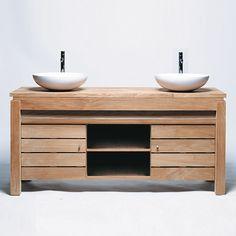 Meuble de salle de bain une porte en teck brut massif pouvant recevoir vasque et un plan. Long. 165cm  Prof. 55cm Haut. 75cm