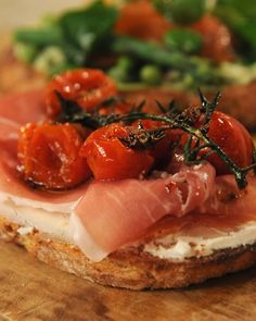 Tartine with Tarragon-Flavored Slow-Roasted Cherry Tomatoes and Proscuitto