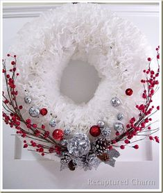 Coffee Filter Christmas Wreath. This wreath came out unbelievably gorgeous!!!!! Very easy and cheap. Things I did different. I started on the outside, making sure to keep the filters even so I wouldn't need to cut them. I used pipe insulation wrapped in duct tape for the form. WOW!!!!!!!!