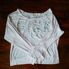 Victoria's secret pink long sleeve VS pink long sleeve with rhinestones on shoulders size M. Victoria's Secret Tops