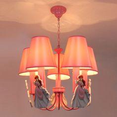 Lovely Girl Child's Room Pendant Light Pink Lampshade Creative Barbie Princess Pendant Lamp Home Decoration Lights