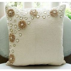 Jute Flowers  Throw Pillow Covers  20x20 Inches by TheHomeCentric, $31.40