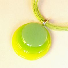 Circles Fused Glass Pendant Necklace Sea Green Yellow and Bright Green on Ribbon Cord Necklace $22