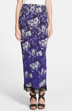 Free shipping and returns on ZZDNU Jean Paul Gaultier Jean Paul Gaultier Mesh Trim Floral Print Tulle Maxi Skirt at Nordstrom.com. A blurred floral print washes over this lean, fitted maxi skirt cut from double-layered tulle. The contrasting mesh hem finishes the style with modern edge.