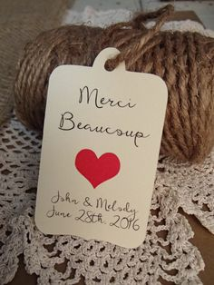 Merci Beaucoup Wedding Favour Tag Set Wedding by thepaperstash
