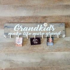 Grandchildren sign photo display. This Grandkids make life more grand Sign makes the perfect unique gift for mothers day, fathers day, new baby pregnancy announcement, grandparents day and best of all Christmas. Grandpa and Grandma, nana, Mimi, Papa ,grandparents love this photo display to #pregnancyannouncementforgrandparents,
