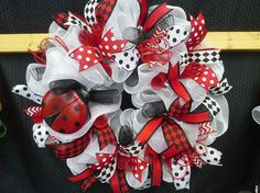 Ladybug Deco Mesh Wreath by EastCarolinaGirl on Etsy, $59.00