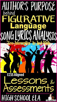 """An engaging lesson my students love it and talk about it all year: featuring the music of composer/performer Jack White. Lessons & Assessments: Literal Language vs. Figurative Language (why authors use each, and the effects of each). Anticipatory questions for song lyrics. Student Guided Analysis Sheets for """"Love Interruption."""" Partner Activity. Homework Assignment with Scoring Guide. Directions and Tips for Teachers."""