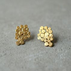 Gold Cluster earrings, Christmas gift, present, bunch earrings,  bridal earrings, bunch posts, Glamorous, designer jewelry, gift for woman by StudioBALADI on Etsy